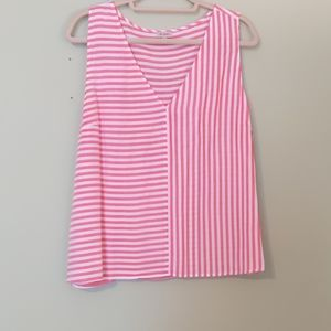 Red and white striped linen tank